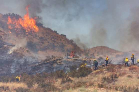 Los Angeles County firefighters and Angeles National Forest firefighters work to douse the Dulce Fire off of the southbound State Route 14 freeway in Agua Dulce Sunday afternoon. | Photo: Cory Rubin/The Signal.