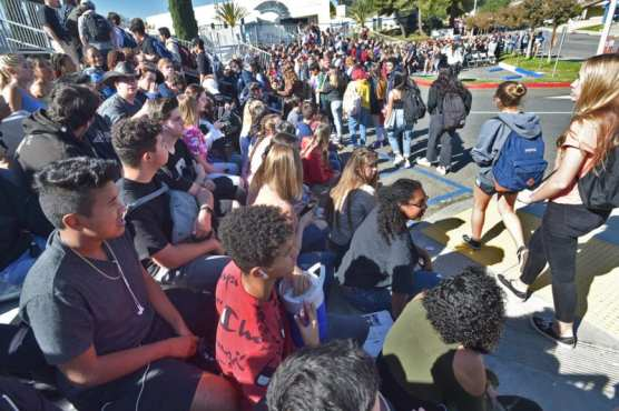 "Hundreds of Saugus High School juniors and seniors file into the bleachers before the ""Every 15 Minutes"" event held at Saugus High School on Thursday, November 7, 2019. 