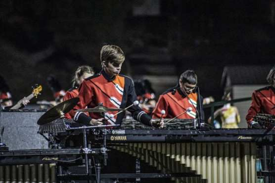 Carter Ewing plays marimba in the Hart High School Marching Band's performance at the 36th Annual Rampage band competition held at College of the Canyon's stadium Saturday, November 2, 2019. | Photo: Bobby Block / The Signal.