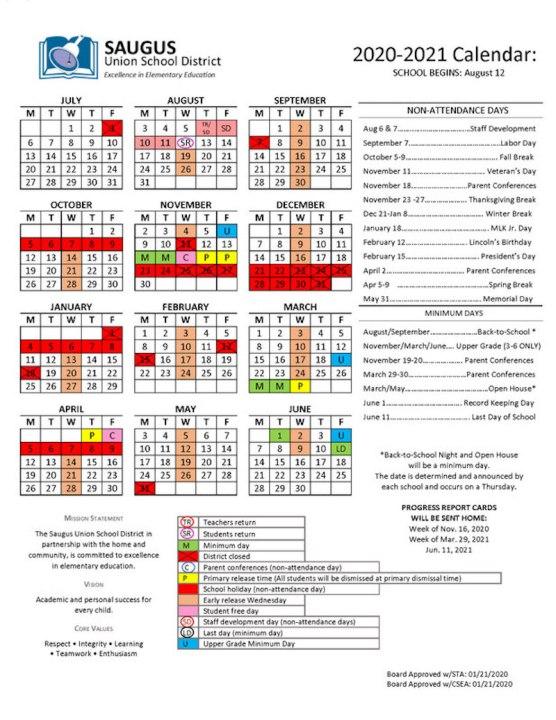 SUSD Proposed 2020-2021 School Year Calendar