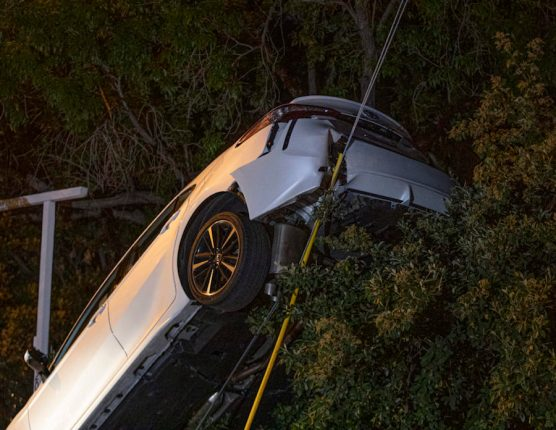 Car Collides with Power Lines