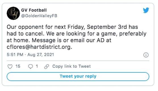 Golden Valley Football Tweet