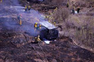 A vehicle went over the side of San Francisquito Canyon Road on Monday at about 10:35 a.m. just south of the historic St. Francis Dam site and north of LADWP Powerhouse 2, roughly 7 miles north of Copper Hill Drive in Saugus.