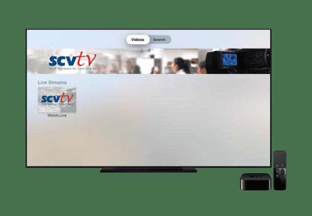 Apple TV with SCVTV app opened.