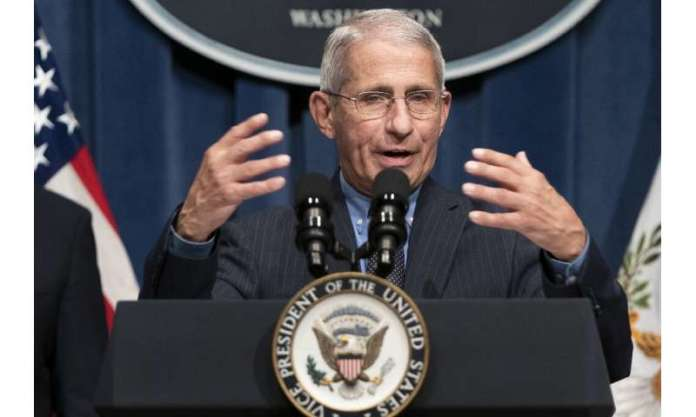 Anthony Fauci, director of the National Institute of Allergy and Infectious Diseases, tells a White House briefing that the Unit
