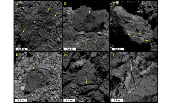 Sunlight cracking rocks on Bennu