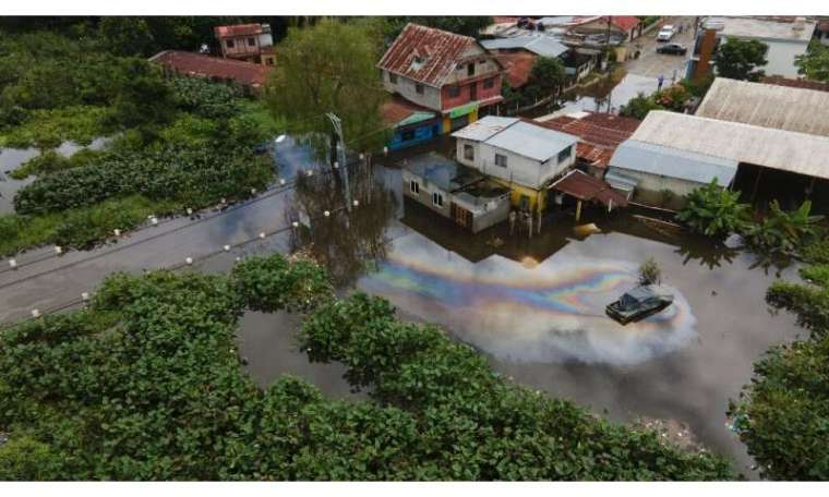 The town of Morales in the province of Isabal, Guatemala, is under water after Storm ETA passes on November 7, 2020.