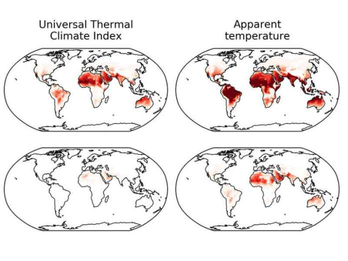 Global Warming Causes Uneven Changes in Heat Stress Indicators