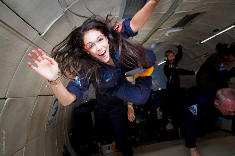 Kellie Gerardi, a researcher with the International Institute for Astronautical Sciences (IIAS), experiences weightlessness on a