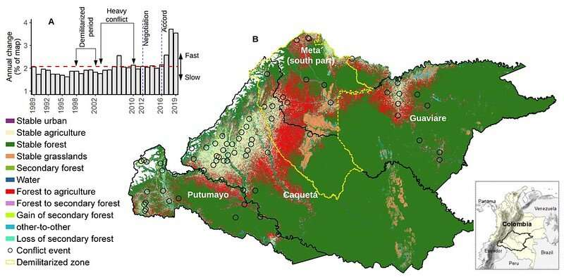 Peace accord in Colombia has increased deforestation of biologically-diverse rainforest