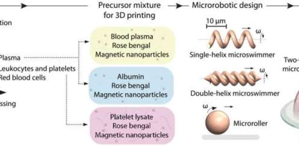 Personalized 3-D magnetic micromachines from patient blood-derived biomaterials
