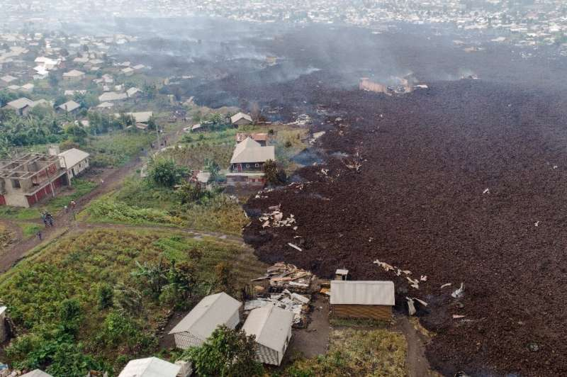 Red-hot lava from the Nyiragongo volcano swallowed up homes in its wake, although the city of Goma has largely been spared