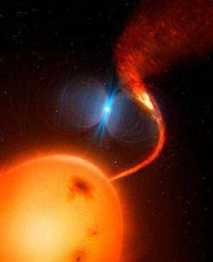 Scientists identify a rare magnetic propeller in a binary star system