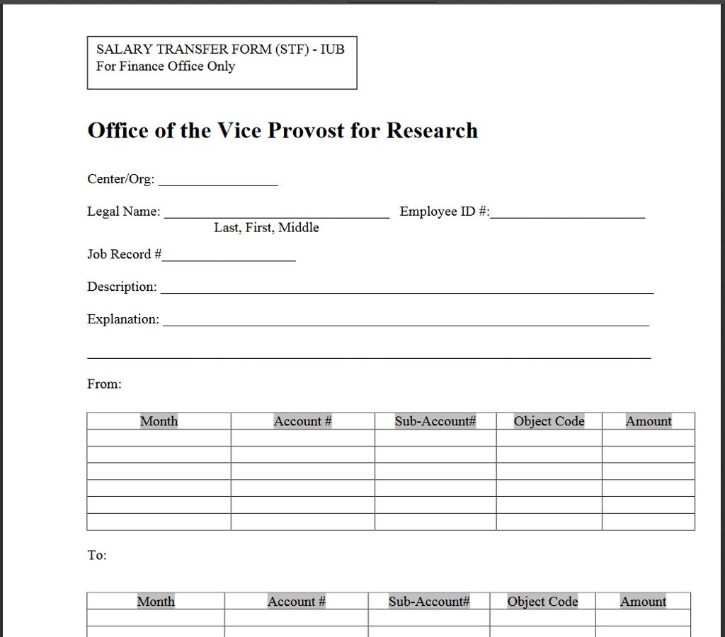 Salary Transfer Form Stf