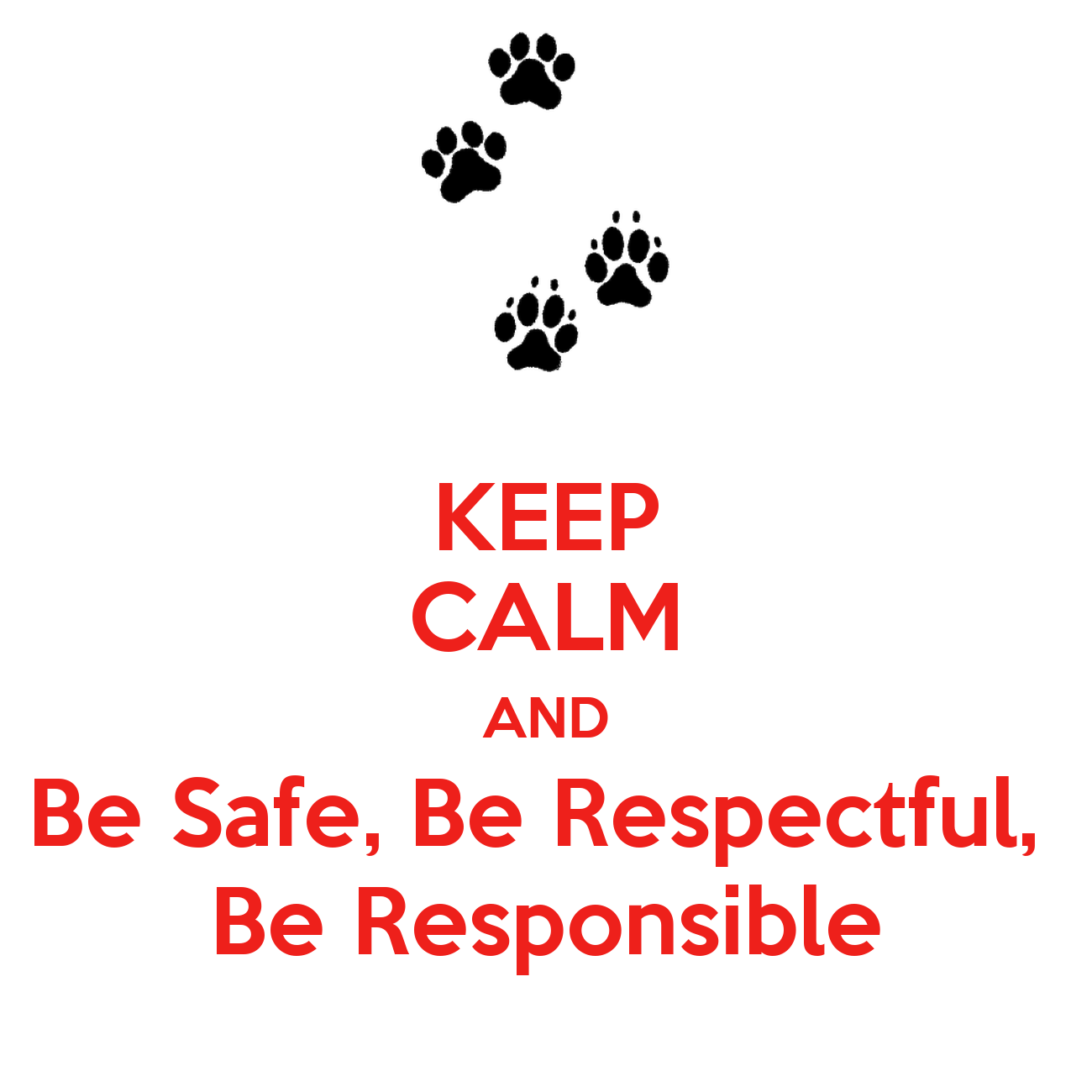 Keep Calm And Be Safe Be Respectful Be Responsible