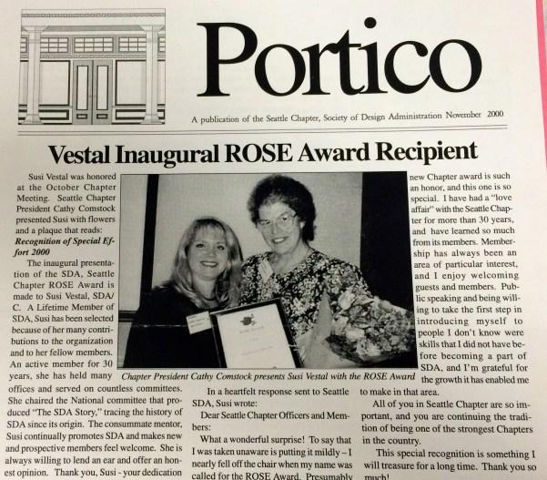Our first ROSE Award, given to Susan Vestal (October 2000)