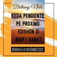 Image may contain: text that says 'Bethany News KEDA PENDIENTE PE PROXIMO EDISHON DI RESERVA 6 DINOVEMBER 2020'