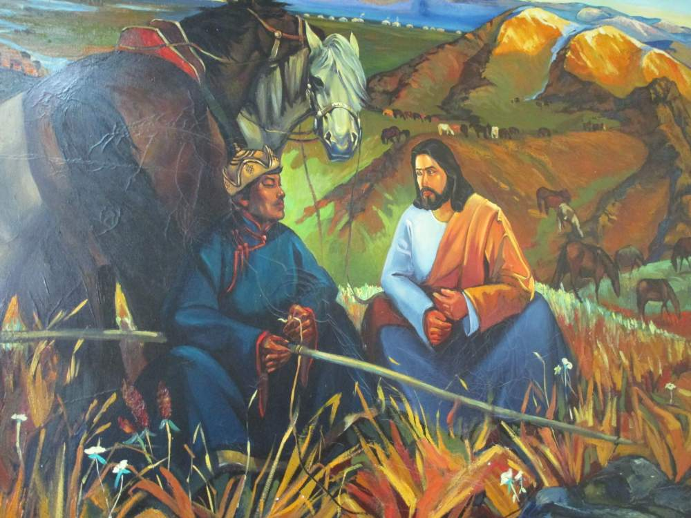 A beautiful painting in the Mongolia Mission office.
