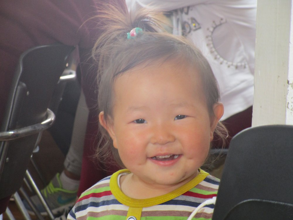 A Mongolian girl in church.