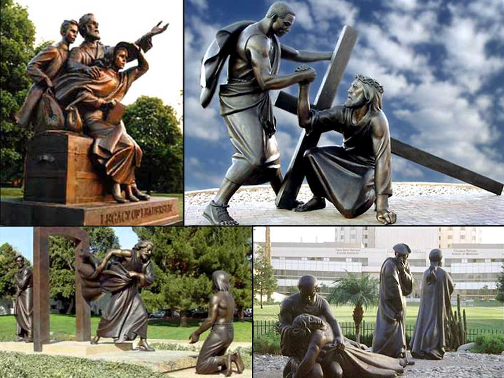 "Clockwise from top left: ""Legacy of Leadership"" at Andrews University, ""Sacrificial Service"" at Oakwood University, ""The Good Samaritan"" at Loma Linda University, and ""Glory of God's Grace"" at La Sierra University. (Gleanernow.com)"