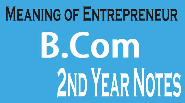 B Com 2nd Year Fundamentals of Entrepreneurship Notes