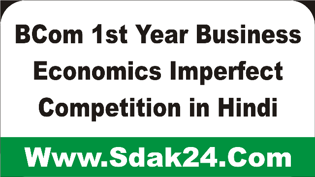 BCom 1st Year Business Economics Imperfect Competition in Hindi