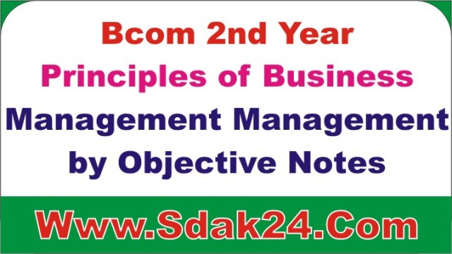 Bcom Management by Objective Notes in Hindi PDF
