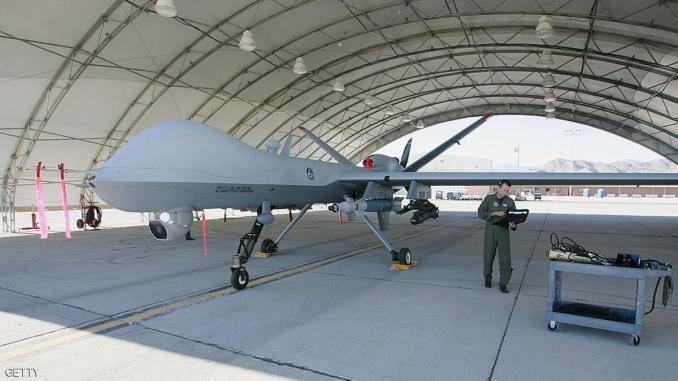 طائرة بدون طيار أميركية في قاعدة جوية