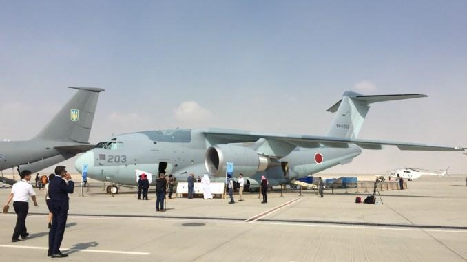 """طائرة النقل اليابانية """"سي-2"""" خلال معرض دبي للطيران 2017 (صورة خاصة)"""
