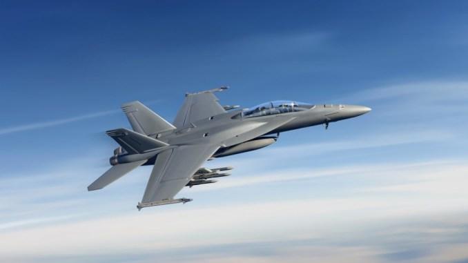 """صورة توضيحية عن طائرة """"سوبر هورنيت"""" المتقدّمة من دون حواضن الأسلحة (شركة بوينغ)"""