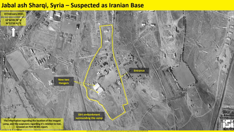 """صورة للأقمار الاصطناعية نشرتها قناة """"فوكس نيوز"""" الأميركية تُظهر تشييد إيران لقاعدة عسكرية في سوريا (فوكس نيوز)"""