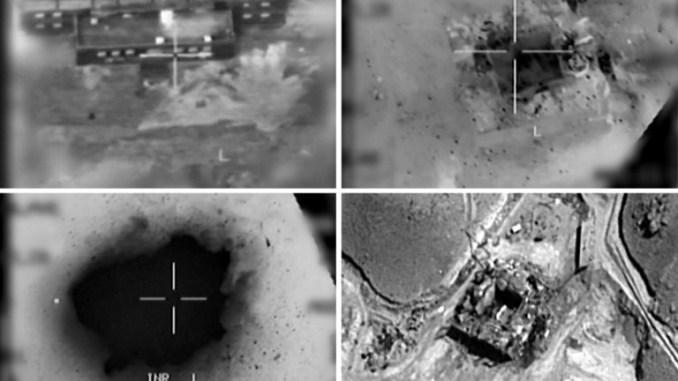 صور نشرها الجيش الإسرائيلي في 20 آذار/مارس 2018، تُظهر لقطات جوية لمفاعل نووي سوري مشتبه به خلال القصف عام 2007. وقد اعترف الجيش الإسرائيلي لأول مرة في 20 آذار/مارس بالمسؤولية عن غارة جوية في عام 2007 ضد مفاعل نووي سوري مشتبه به، وهو هجوم كان يشتبه منذ فترة طويلة في تنفيذه (AFP)