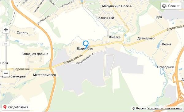 Pag-uuri ng sentro ng Sharapovo sa mapa