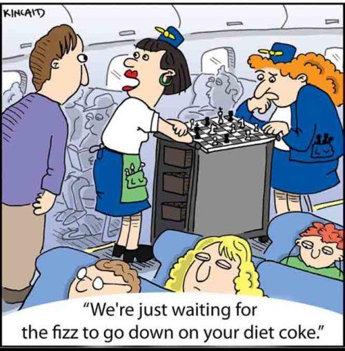 """漫画:""""我们只是在等您健怡可乐上的泡泡消下去。"""""""