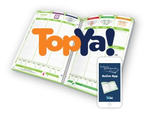 Open planner with topya logo and app with topya mock-up.