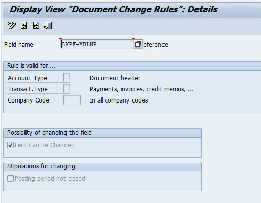Document Change Rule : FB02