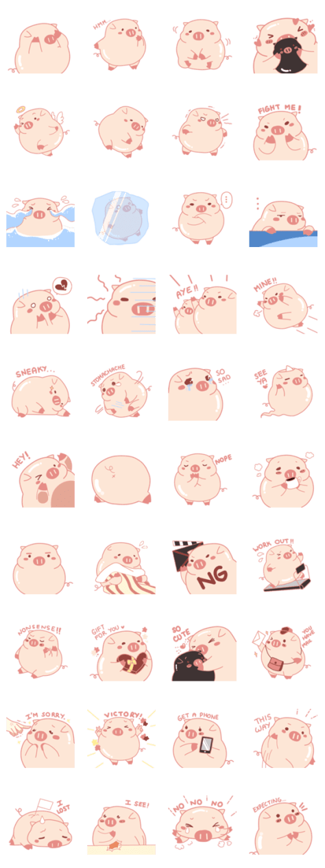 「Vivid Emotions with Chubby Cute Pink Pig」のLINEスタンプ一覧