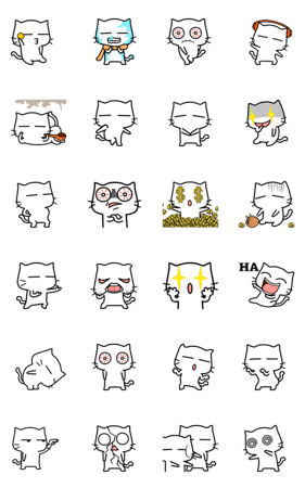 「white cat - super naughty」のLINEスタンプ一覧