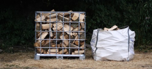 Logs and firewood in an IBC than a builders bag