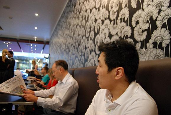 Andrew and the funky wallpaper at Velvet
