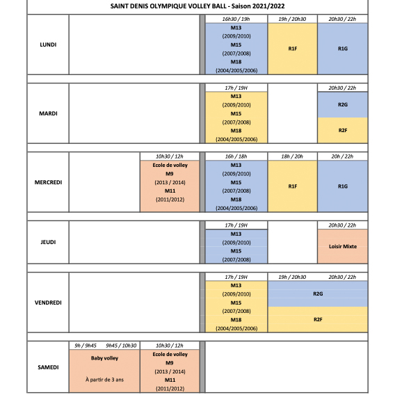 planning entrainements SDOVB