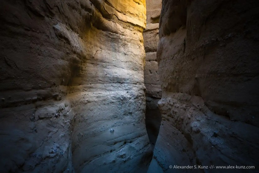 Curved walls in one of the Palm Wash slot canyons near the old Calcite Mine in Anza Borrego Desert State Park, California.