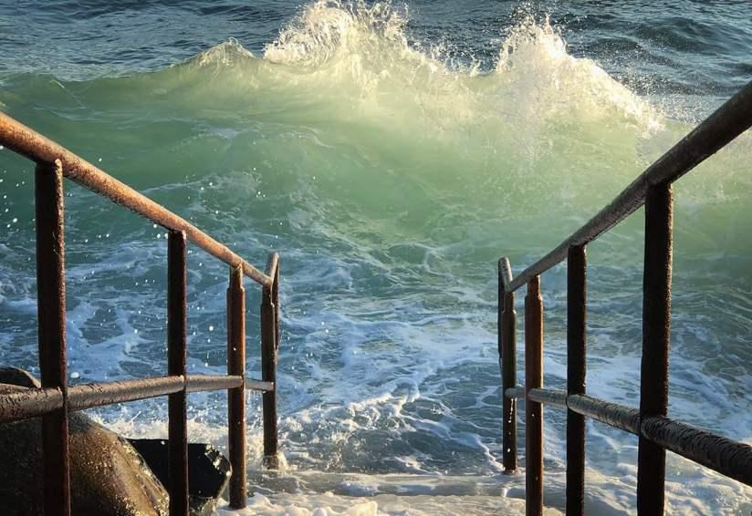 Carmen Saunders - High tide waves on Oceanside Beach