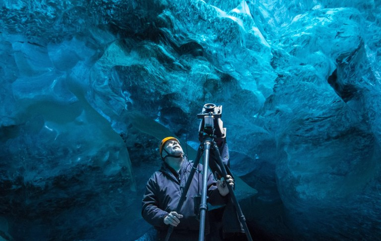 David Ward at work in an ice cave