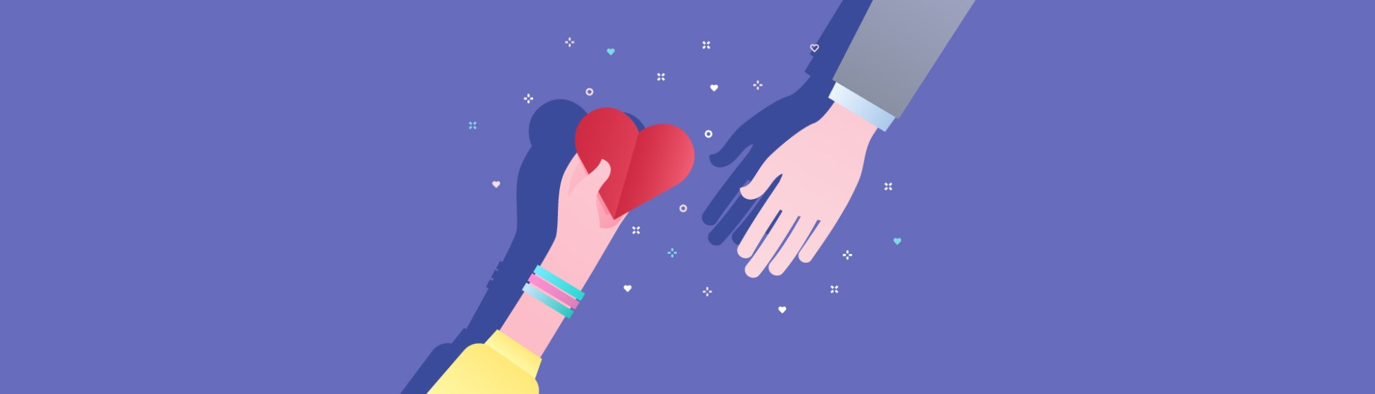 hand holding heart and reaching out to another hand