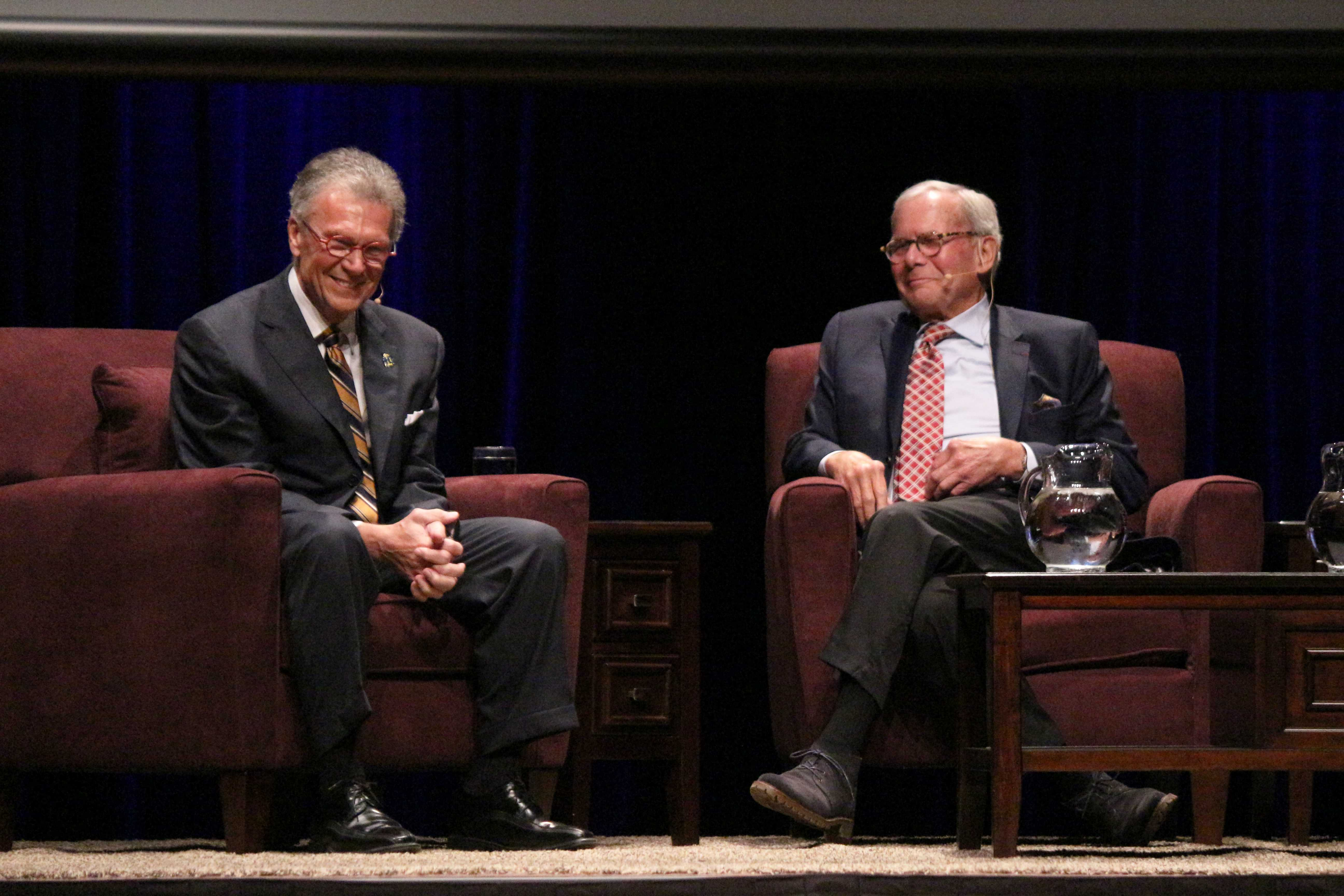 IAN LACK Tom Daschle and Tom Brokaw sit on stage at the Performing Arts Center Oct. 19 during the 2017 Daschle Dialogues. The 2016 election and Donald Trump were the focus.