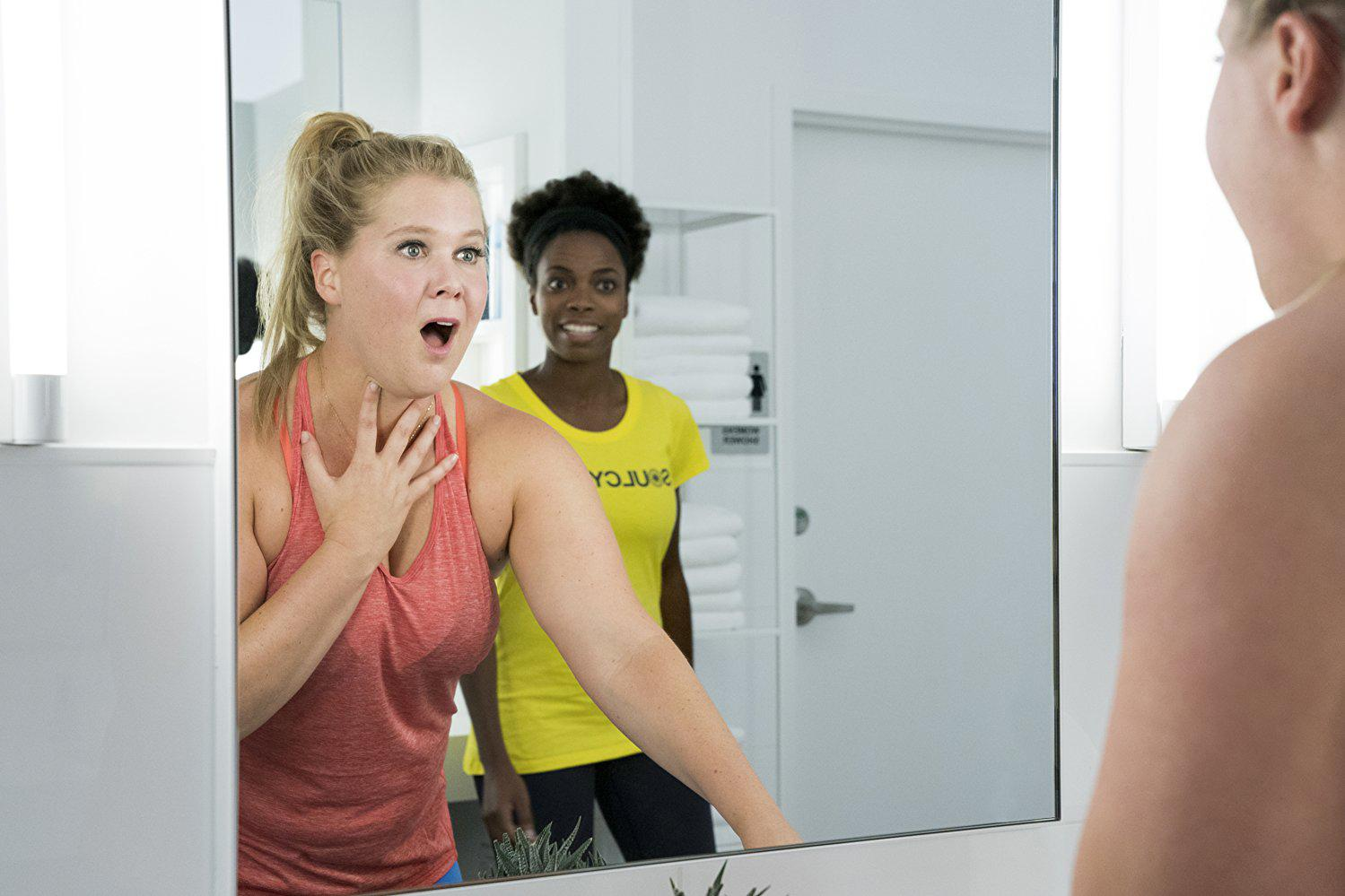 "VOLTAGE PICTURES An ecstatically surprised Renee Bennett (Amy Schumer) discovers her ""new body"" after a head injury in a SoulCycle class. ""I Feel Pretty"" plays off of the comedic situations Bennett finds herself after a boost in body confidence. The film opened third at the U.S. box office with $16 million."