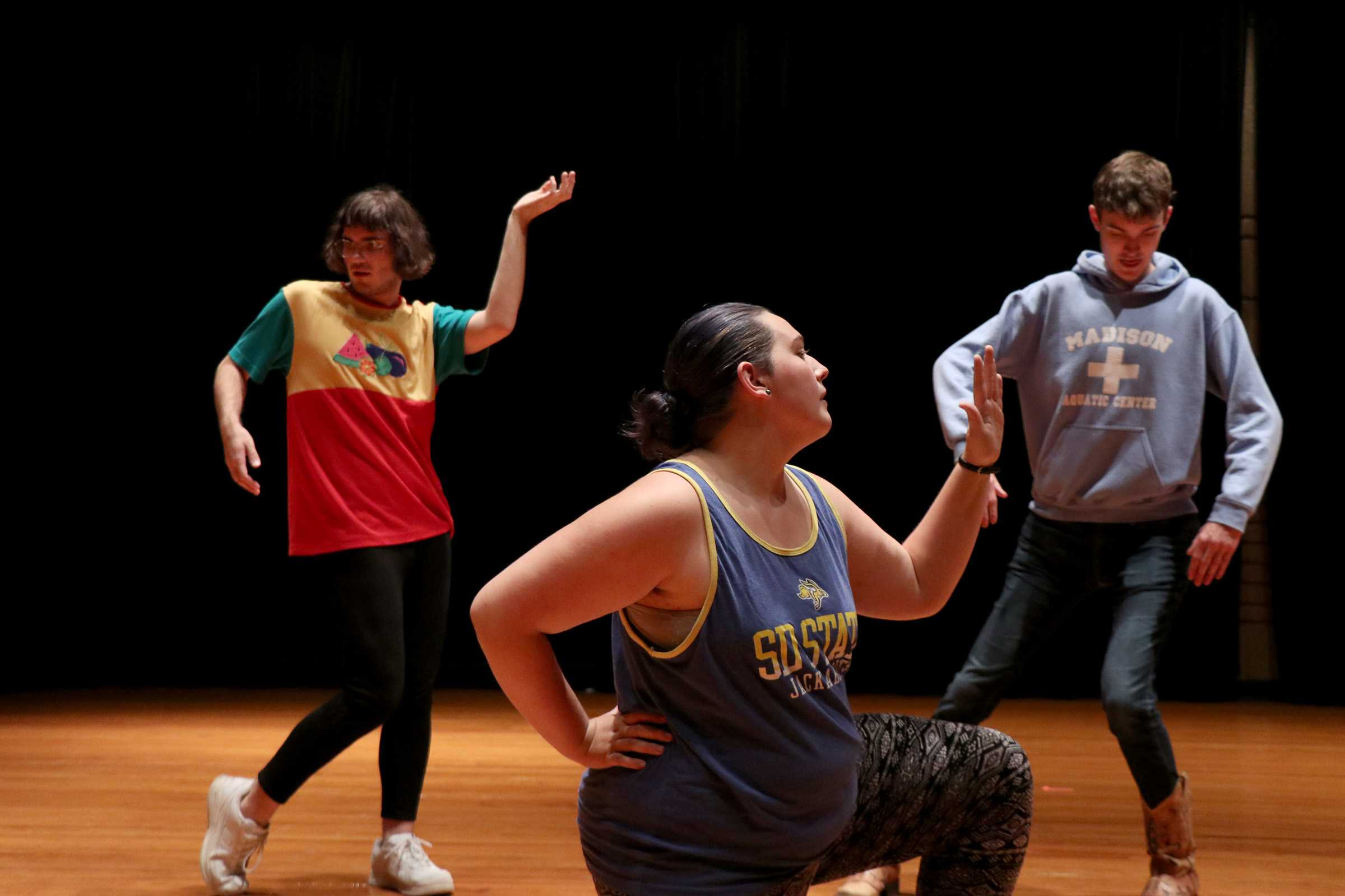 MIRANDA SAMPSON Mr. and Ms. Homelycoming participants learn the opener dance choreography at their dress rehearsal Tuesday, Oct. 9 in preparation for the Mr. and Ms. Homelycoming competition competition in the Performing Arts Center at 7 p.m. Wednesday, Oct. 10.