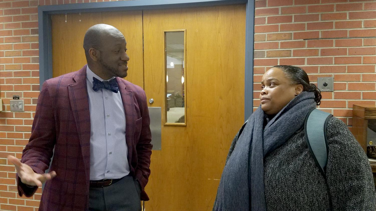 Attorney Michael Taylor and interim director of the Office of Diversity, Inclusion, Equity and Access Kas Williams discuss Taylor's presentation on being an African American attorney.
