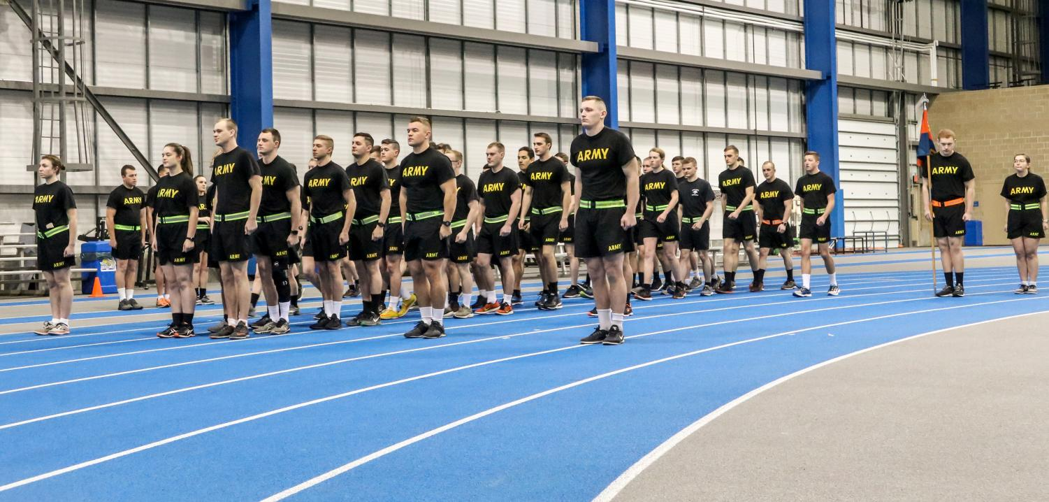 Army ROTC Cadets get into formation at 5:45 a.m. for physical training Friday, Feb. 15 in the Sanford-Jackrabbit Athletic Complex. The Army ROTC has morning training three times a week in the SJAC.